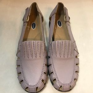 Dr. Scholl's Purple Leather Wedge Loafer Sandals